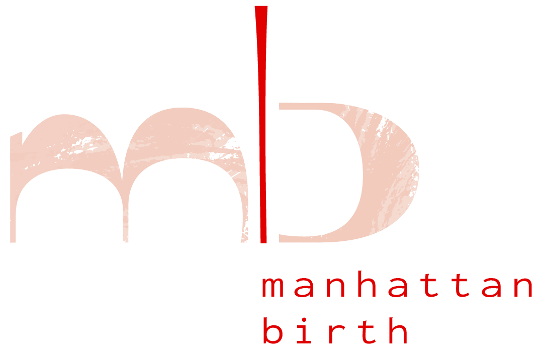 "The Manhattan Birth Logo shows a lowercase m and b in a marbled peach color, separated by a red line. ""manhattan birth"" in lowercase is below the b."