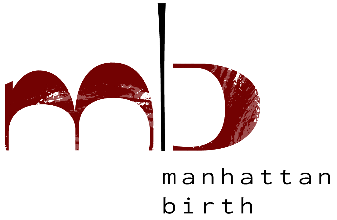 The Manhattan Birth Logo shows a lowercase m and b in a marbled maroon color, separated by a black line.
